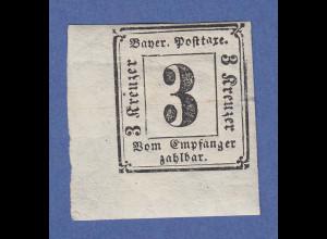 Bayern Portomarke 3 Kreuzer Mi.-Nr. 1 ungebraucht, ECKRANDSTÜCK unten links