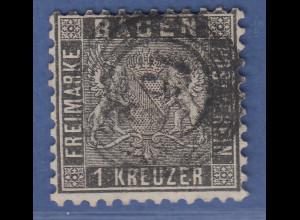 Altdeutschland Baden 1 Kreuzer schwarz Mi.-Nr. 13a gestempelt