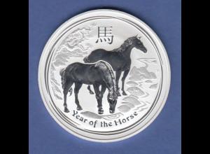 Australien Lunar-Serie 2014 Jahr des Pferdes / Year of the horse Silberunze PP