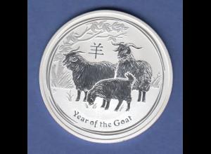Australien Lunar-Serie 2015 Jahr der Ziege / Year of the Goat Silberunze PP