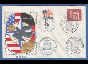 Deutsch-Amerikanische Freundschaftswoche 1963 Beleg Briefmarken-Club Wiesbaden