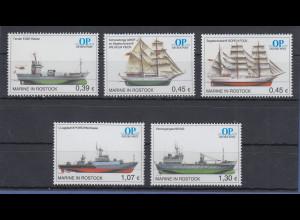 Moderne Privatpost OSTSEE-POST OP Schiffe Satz 5 Werte 0,39-0,45-0,45-1,07-1,30
