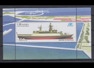 Moderne Privatpost OSTSEE-POST OP Schiff Korvette K130 Blockausgabe 1,30+0,20