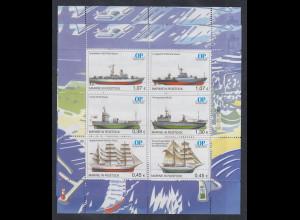 Moderne Privatpost OSTSEE-POST OP Schiffe Kleinbogen mit 6 Werten **