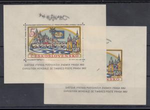 Tscechoslowakei CSSR Praga 1962 Blockausgaben Mi.-Nr. Bl. 18 A und B jew. **