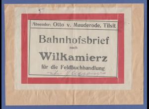 Bahnhofsbrief aus Tilsit gel. nach Wilkamierz für die Feldbuchhandlung