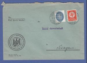 Dt. Reich Strohhut-Dienstmarke 4Pfg. Mi-Nr. 130 auf Brief von Dortmund -> Siegen