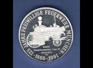 Silbermedaille Bayern München 125 Jahre Freiwillige Feuerwehr 1866-1991 PP