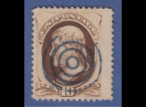 USA 1870 Thomas Jefferson 10 Cent Mi.-Nr. 41 gestempelt Vierring-O blau