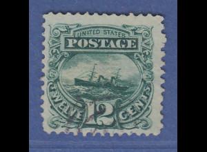 USA 1869 Pictorials 12 Cent Dampf-Segelschiff Adriatic Mi.-Nr. 31 gestempelt