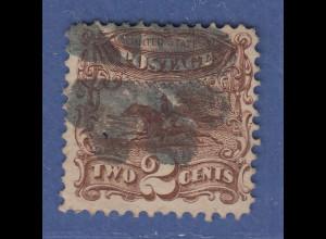 USA 1869 Pictorials 2 Cent Pony-Express-Reiter Mi.-Nr. 27 gestempelt