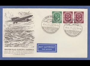 Posthorn Privat-Ganzsachenumschlag 10-25-25 Erster Postflug Europa-Amerika O Ulm