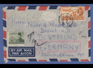 Ägypten 1951 Luftpostbrief gel. nach Dortmund, nachtaxiert.