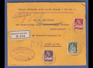 Schweiz Sept. 1916 Wertbrief aus Genf gel. nach Köln, versiegelt, zensiert.