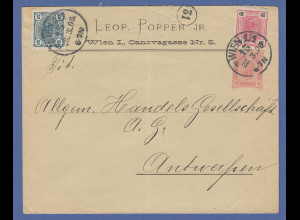 Österreich Ganzsache mit ZUF aus Wien an HANDELS-GESELLSCHAFT Antwerpen, 1906