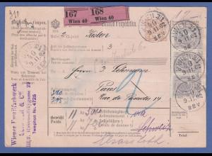 Österreich Paketkarte aus Wien für 2 Kisten befördert nach Paris, 1902