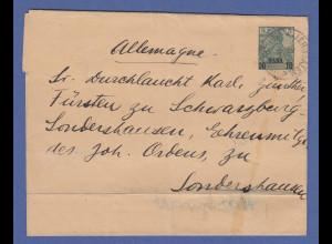 Dt. Post in der Türkei, Streifband gel. an Fürsten zu Schwarzberg, Sondershausen