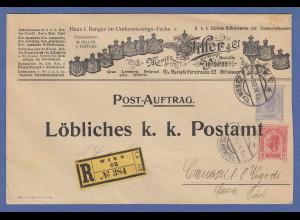 Österreich dekorativer R-GA-Umschlag des K.u.k. Uniform-Hoflieferanten 1906