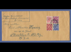 Bizone Langformat-Brief 1948 gel. ab Frankfurt nach Brooklyn New York USA