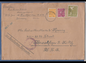 All. Bes. Großformat-Brief 1947 gel. ab Frankfurt nach Brooklyn New York USA