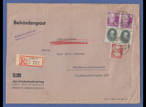 DDR Behördenpost R-Brief aus Berlin u.a. mit Paar Akademie 10Pfg., Propaganda-O