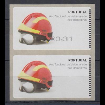 Portugal 2008 ATM Feuerwehr SMD Paar Wert 0,31 / Leerfeld ** SELTEN !