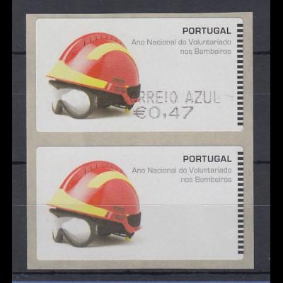 Portugal 2008 ATM Feuerwehr SMD Paar Wert AZUL 0,47 / Leerfeld ** SELTEN !