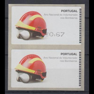 Portugal 2008 ATM Feuerwehr SMD Paar Wert 0,67 / Leerfeld ** SELTEN !