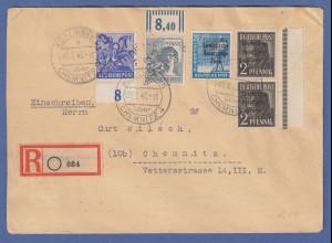 SBZ Maschinenaufdruck 20Pfg mit doppeltem Aufdruck Mi.-Nr. 189a DD I auf R-Brief