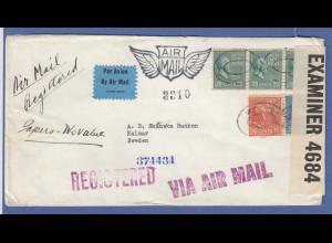 USA 1941 R-Brief gelaufen von New York nach Schweden, Zensur