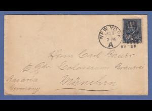 USA 1888 Garfield 5 Cent Mi.-Nr. 57 auf Brief von New York nach München
