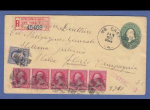 USA 1892 Ganzsache mit Zufrankatur als R-Brief gel. von New York nach Palermo