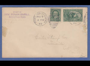 USA 1899 Brief von Fort Madison Iowa gel. nach Kanada mit Mi.-Nr. 126 und 117