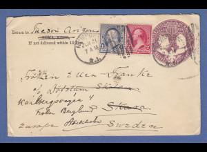 USA 1893 Ganzsache mit Zufrankatur gelaufen von Newport nach Schweden