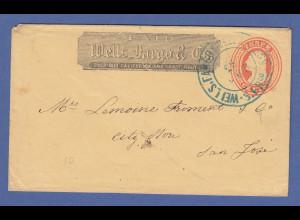 USA ca. 1860 Ganzsachen-Umschlag Wells Fargo & Co. San Francisco