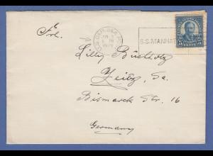 USA Schiffspost-Brief S.S. MANHATTAN mit Stempel U.S. GER. SEA POST 1938