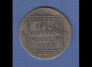 Sachsen Henneberg Friedrich August III. 5 Kreuzer / eine feine Marck 1765