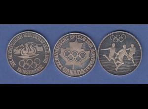 Set 3 Silber-Medaillen Olympische Spiele Montreal 1976, je 15g Ag1000
