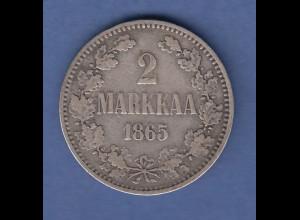 Finnland Silber-Kursmünze 2 MARKKAA 1865