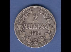 Finnland Silber-Kursmünze 2 MARKKAA aus dem Jahr 1865