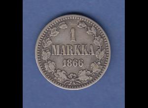 Finnland Silber-Kursmünze 1 MARKKA aus dem Jahr 1866
