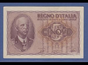 Banknote Italien 5 Lire 1944