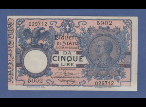 Banknote Italien Vitorio Emanuele III. 5 Lire 1904