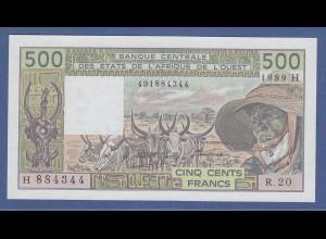 Banknote Französisch-Westafrika 500 Francs 1989