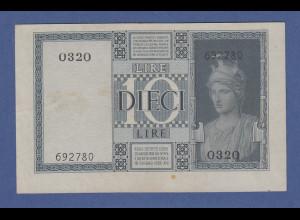 Banknote Italien 10 Lire 1938. Selten !