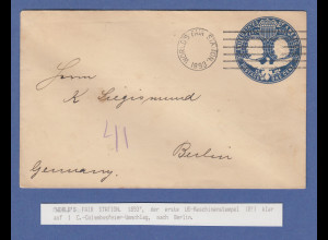 USA WORLD'S FAIR STATION 1893, der 1. Maschinenstempel der USA !!!