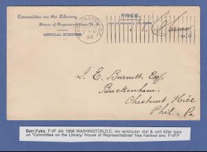 USA 1898 Washington D.C. Barr-Fyke Maschinen-O mit vertikalen Balken, selten !