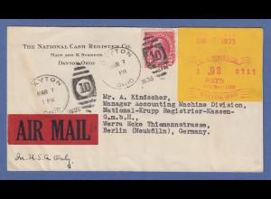USA Schalterfreistempel Dayton Ohio MAR-7 1935 auf LP-Brief nach Berlin