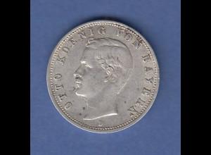 Dt. Kaiserreich Bayern Silbermünze 2 Mark König Otto Jahrgang 1905