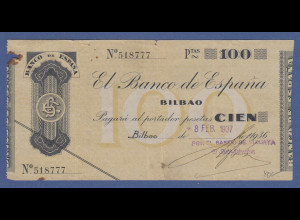Banknote Spanien 100 Pesetas, 1937
